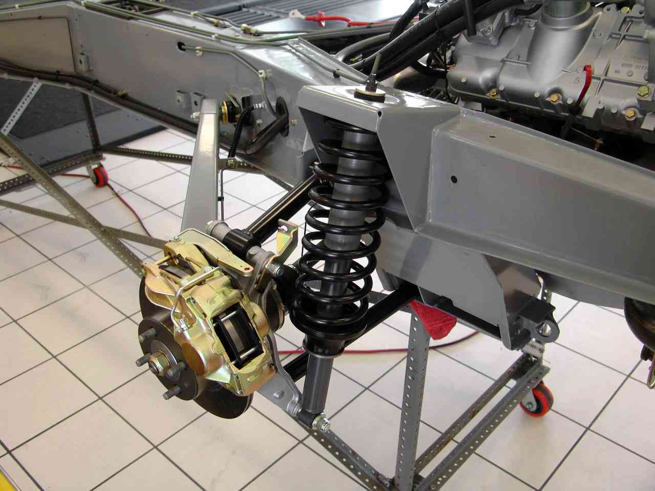 The Front Suspension in a Refurbished Delorean
