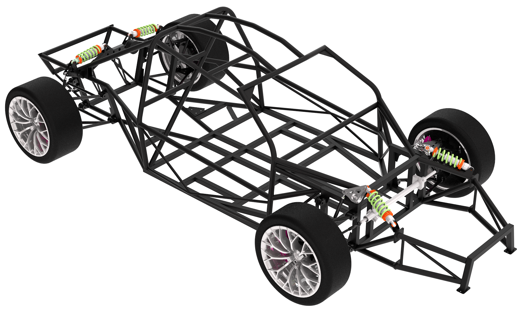 A rolling chassis race car frame.
