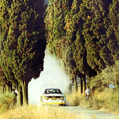 An Audi S1 Quattro competing in Group B Rally.