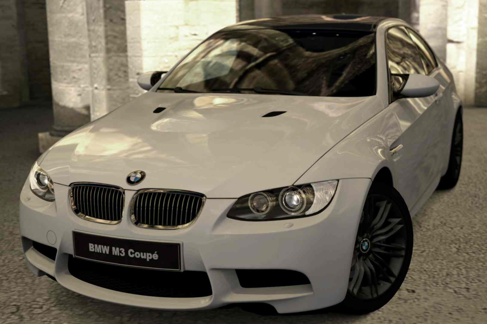 A stock white BMW M3 coupe.
