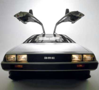 The front of a DeLorean DMC-12