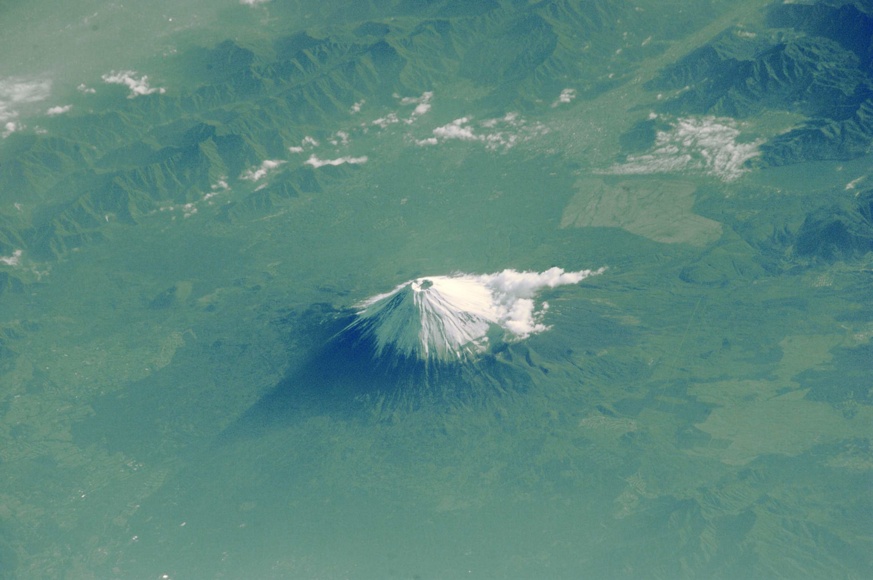 A photo of Mount Fuji taken from the International Space Station