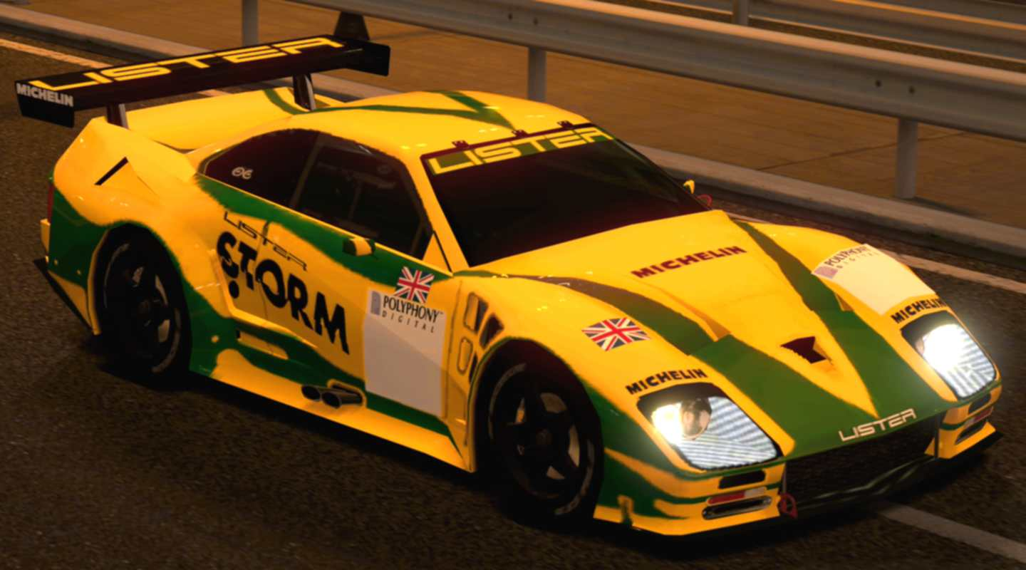 A Yellow & Green Lister Storm V12 Race Car