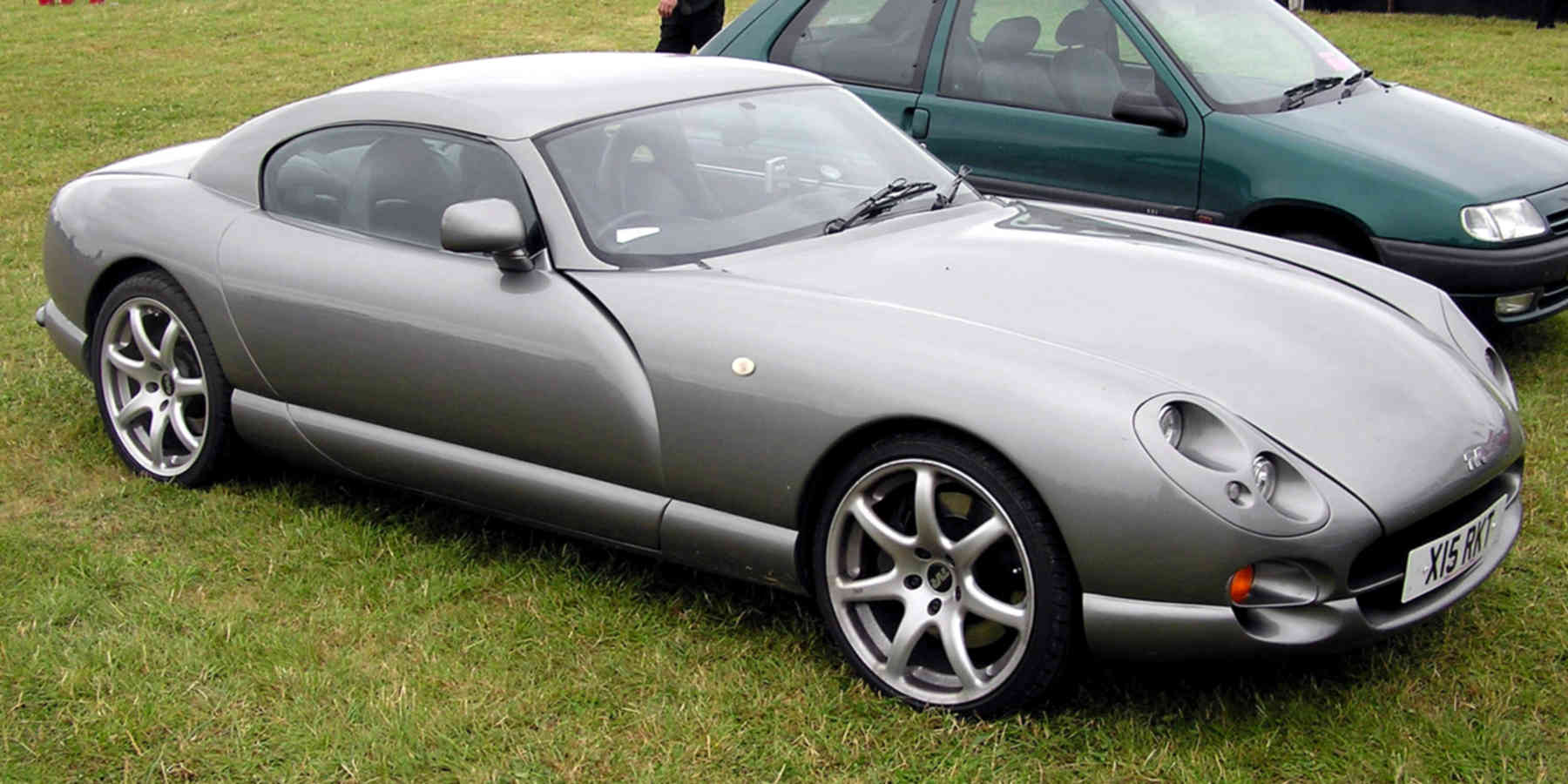 A silver TVR Cerbera in the grass